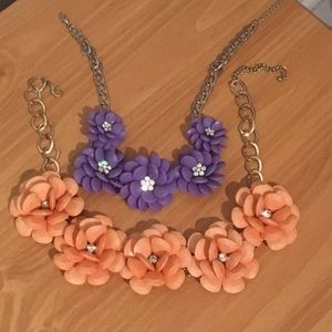 Jewelry - Two flower rhinestone necklaces